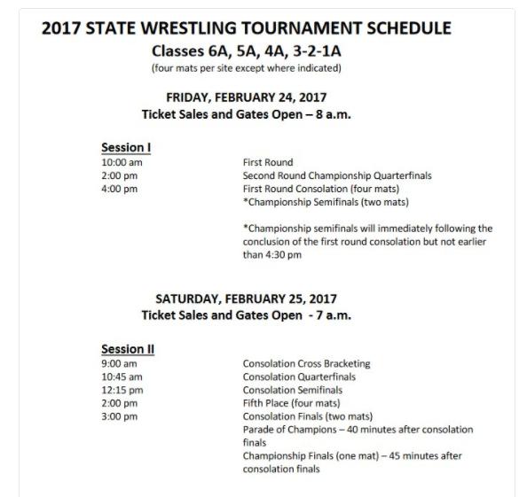 2017 state wrestling schedule