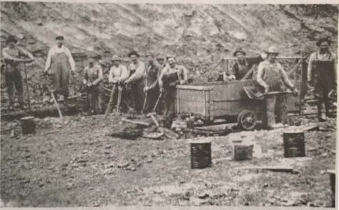 Miners outside mine