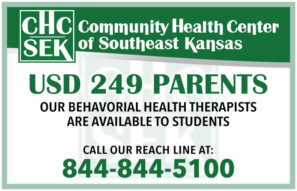 USD 249 Parents.   Our behavioral health therapists are available to students.  Call our reach line at: 844-844-5100
